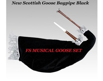 Brand New Scottish Goose Bagpipe Black Color Silver Mounts Black Velvet Bag