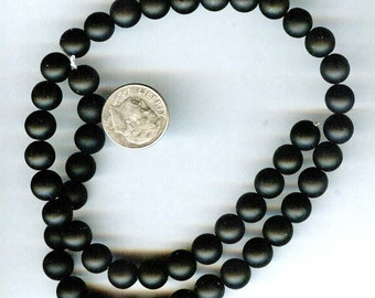 8mm Matte Black Onyx Round Beads QUALITY 15.5""