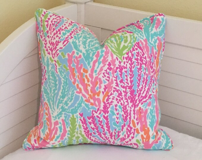 SALE, FREE Shipping, Pair of Lilly Pulitzer Let's Cha Cha in Tiki/Shorely Blue Designer Pillow Covers with Self Welting, 24x24 Euro
