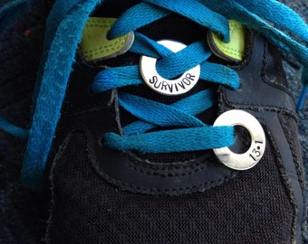 """Shoe lace tag. 7/8"""" stainless steel washer. Survivor, marathon, half marathon, inspirational, sole sisters, emergency contact, or CUSTOM"""