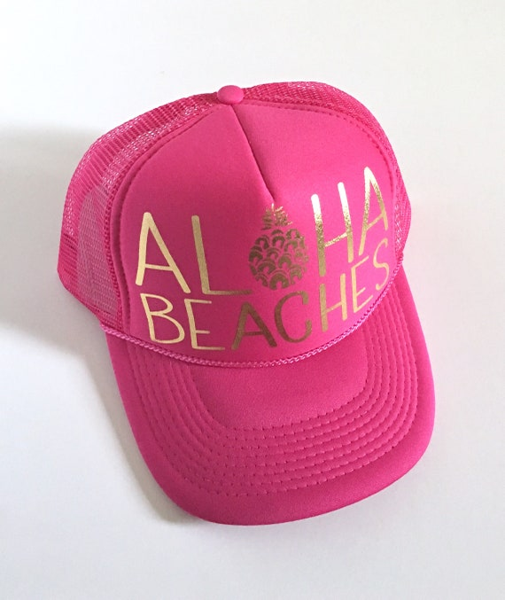 Pinky Aloha Beaches Hat| Aloha Trucker Hat| Aloha Hat| Trucker Hat| Hawaii Hat| Pineapple Hat| Pineapple| Beach Hat| Pinky Hat