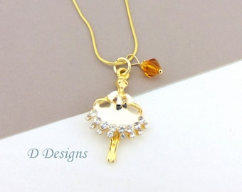Dancer Necklace, Tarnish Resistant Gold Plated Dancer Birthstone Necklace