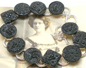 """1800s Lacy BUTTON bracelet, Victorian black glass 7.5"""" silver bracelet. One of a kind jewellery."""