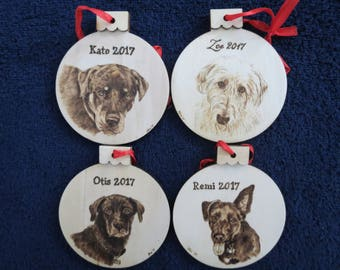 Pet Portrait Wood Burn Ornament Handmade 4 pc Made to Order using provided photo Irish Wolfhound by Shannon Ivins