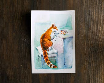 Curious ginger white cat in kitchen original watercolor painting, animal art, kitchen home or office decor for cat lovers, cute kitty
