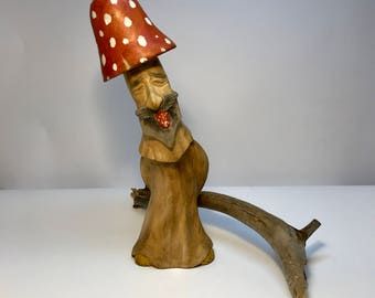 "Collection Hand Carved Wooden Figurine ""Mushroom Amanita"""