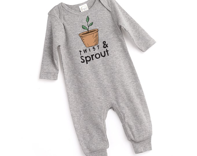 Newborn Coming Home Outfit, Newborn Boy Coming Home, Newborn Girl Coming Home, Twist and Sprout Onesie, Heather Gray Romper, Grey, Tesababe