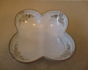 Antique Hand Painted Nippon Nut Dish, Beautiful Flowers, Signed used