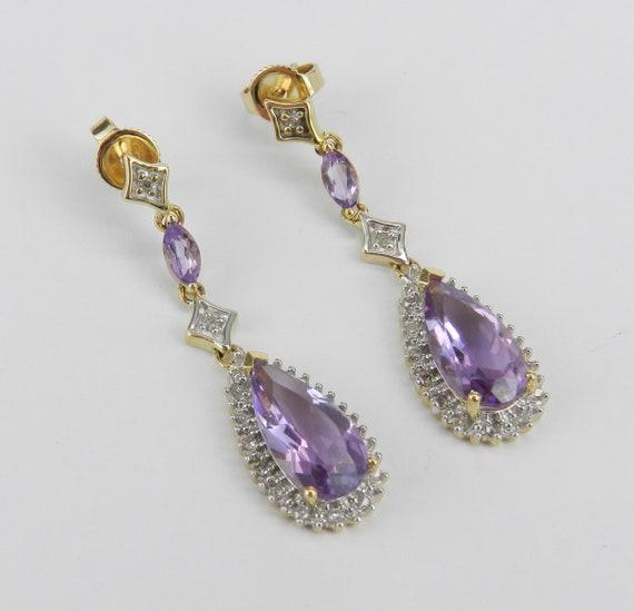 Amethyst and Diamond Dangle Drop Earrings Yellow Gold Wedding Earrings February Gemstone