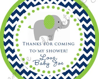Navy Blue and Green Elephant Chevron Baby Shower Thank You Round Circle Sticker / Label / Party Favor / Digital File or Printed Products