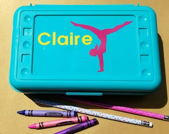 Gymnast Pencil Box- Personalized Crayon Box, Pencil Case, School Supplies, gymnast Easter gift, Personalized pencil box, Gymnast gift