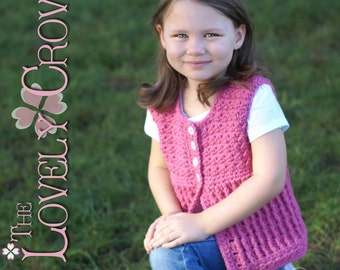 Child Vest Crochet Pattern Vest, Sweater, or Cardigan, BELLA SARAH CARDIGAN digital