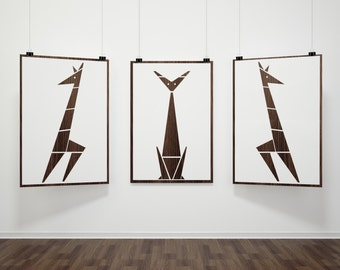 ON SALE! Mad Men Inspired Cat Giraffe Mid Century Modern Eames Era Triptych Art Print Set Gift