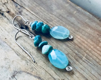 Blue Opal and Turquoise Stack Earrings Sterling Silver Wire Wrapped December October Birthstone Modern Gemstone Jewelry Gifts Under 50