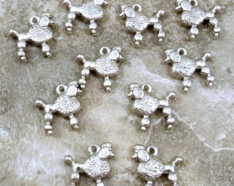10 Pewter French Poodle Charms - Free Shipping to US - (5476)