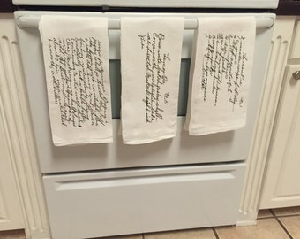 Custom kitchen recipe towel handwritten recipe vinyled towel