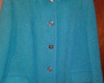 Vintage Women's mid-1950s HARRIS TWEED Overcoat, size ~ 14-16, 3 / 4 length overcoat
