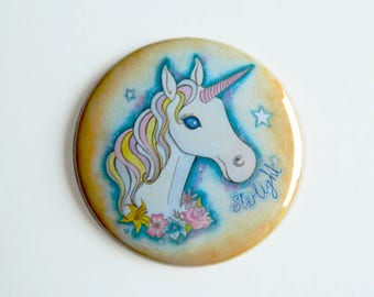 Pocket Mirror - Unicorn - Fantasy Art Cute Starlight Compact Teen Floral Rose Stars Pastel Goth