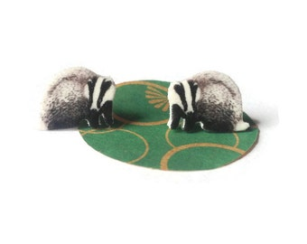 Badger earrings, animal jewellery, studs, badgers illustration