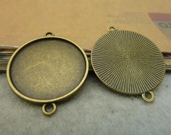 20 Antique Bronze 25mm Round Bezel Cup AC4337