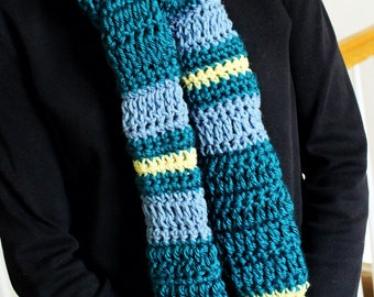 Teal, Blue, and Yellow Scarf
