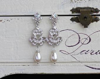 Pearl Bridal Chandelier Earrings, Deco Bridal Jewelry, Ivory Pearl Drop Earrings, Crystal Wedding Earrings,  CELINE Pearl