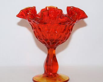 Fenton Orange Thumbprint Glass Comport - Amberina-like Color
