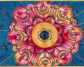 Mandala Painting Wall Decor CANVAS Print, Mandala Drawing, Zentangle art, Living room decor, Christmas gift Floral art, Boho yoga room decor
