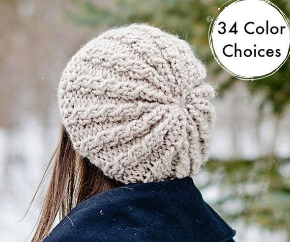 Knit Hat Womens Hat Slouchy Hat - Rasta Thumb Cable Beret Hat - Cream Hat Cream Beret Cream Beanie Knit Accessories - 34 Color Choices
