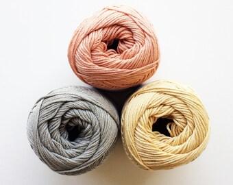 Cotton Silk Yarn, Grey Yellow Orange Cotton Silk, Cotton Knitting Yarn, Sport Knitting Yarn