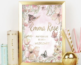"""Personalized Nursery Art For Baby Girls Room Flower And Butterfly Wall Decor, Blush Pink And Gold New Born Baby Gift, 6 Sizes- 5x7 - 24x36"""""""