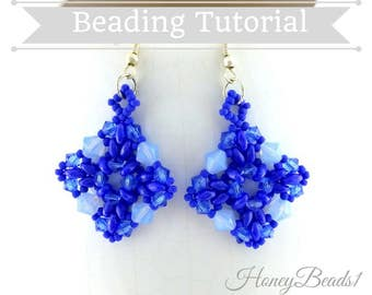 PDF-file Beading Pattern Evening Star Earrings Beading Tutorial by HoneyBeads1