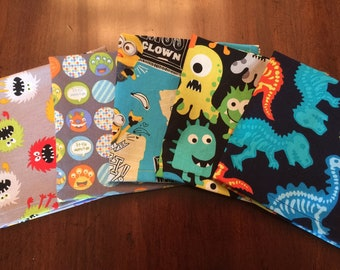 Lunchbox Napkins, Kids Cloth Napkins, Creatures Dinosaurs,Set of 5