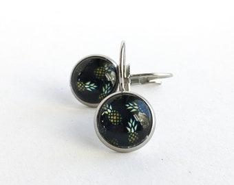 Petites boucles d'oreilles pendante en acier inoxydable image d'ananas, Dormeuses rose 10mm, Acier inoxydable, Boucles d'oreilles femme