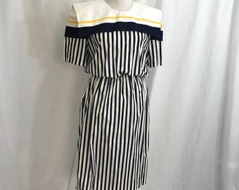 Vintage 80s Navy Striped Nautical Dress L