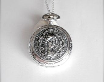 Art Nouveau Style Watch Necklace, Pocket Watch, Art Nouveau Goddess Pendant, Lady Gibson Watch Necklace, Gibson Girl Necklace, Gift for Her