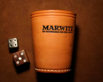 Leather dice cup, dice shaker, old dice cup with 2 pcs wood and metal dice, vintage dice cup