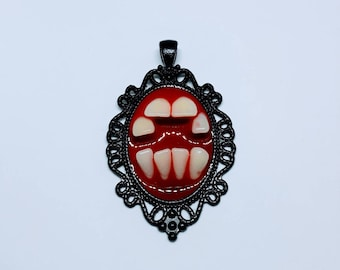 Faux Human Teeth Necklace Pendant