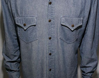60/70s Lee - Country Western Cowboy West Cal 45 cotton chambray snap up w/ scalloped chest pockets and pointed yokes collared shirt-men's XL