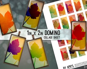 Fall Leaf Autumn Leaves 1x2 Domino Digital Collage Sheet Digital Images for Domino Pendants Magnets Scrapbooking Journaling JPG D0040