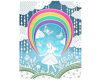 11x14 Fine Art Print - Rainbow - Original Papercut Illustration Print
