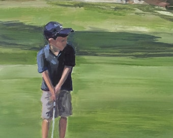 Original Oil Painting of Golf Course/Boy Golfing, Golf Landscape Scene, Sport Scene