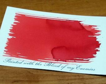 Blood of My Enemies Hand Dyed Letterpress Postcard