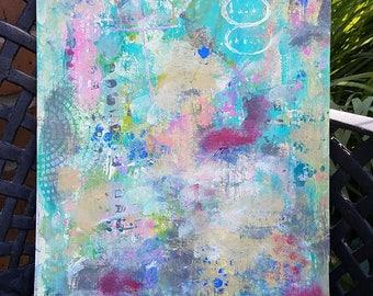 Abstract Acrylic Painting on 11x17 Cardboard, Upcycled Cardboard