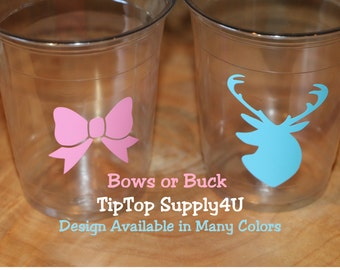 24 bow or buck gender reveal 10,12 or 16 oz. clear disposable cup. Baby Shower, sprinkle party, boy or girl, bows, Hunter shower. B-75-224