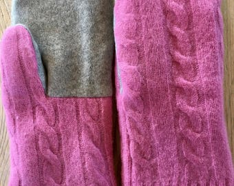 Recycled Wool Sweater Mittens - Pink Cabled