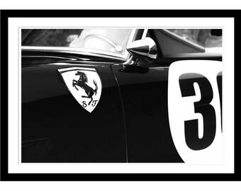 Ferrari Car, Ferrari 250 GT Picture, Car Photography, Auto Print, Vintage Ferraris, Black and White, Car Print, Automotive Art, Classic Car