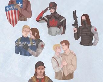 Stucky - Sticker Set - Steve Rogers - Bucky Barnes
