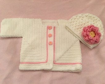 Light or Bright Pink Daisy sweater set