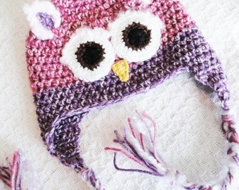 Pink and Purple Snow Owl Crocheted Beanie Hat with Tassels  By Distinctly Daisy on Etsy